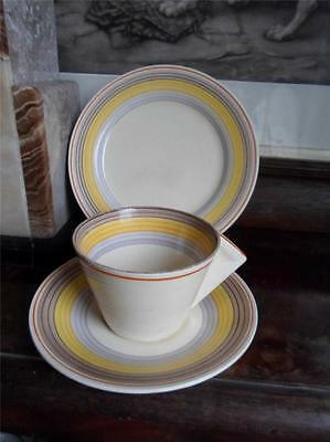 Clarice Cliff Yellow & Brown Banded Conical Trio c.1934