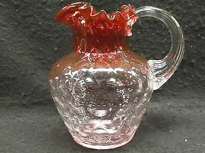 Antique Miniture Pitcher Creamer Reverse Thumbprint Clear to Cranberry