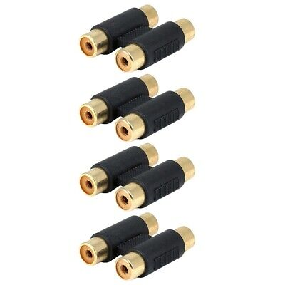 4x 2-RCA Female/Female Jack Audio Coupler Barrel Joiner Adapter Gold Connector