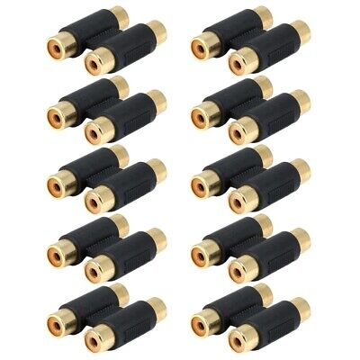 10x 2-RCA Female/Female Jack Audio Coupler Barrel Joiner Adapter Gold Connector