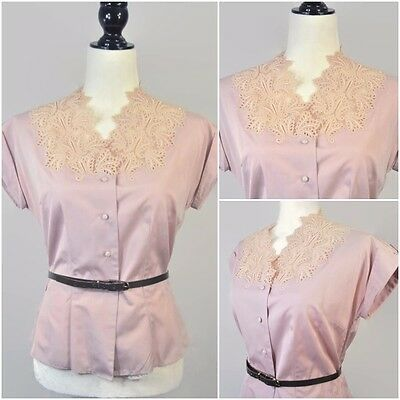 Vintage 50s Willy Zurcher Pink Lace Collar Button Up Blouse Shirt Top Medium L