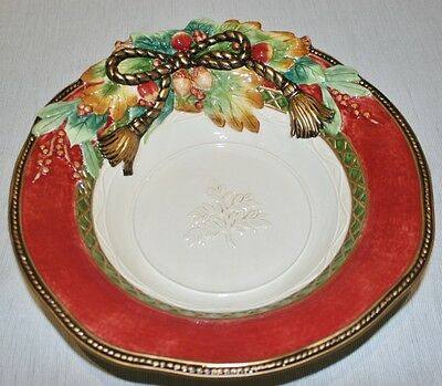 """WOW! Fitz & Floyd Christmas Santa 'HOLIDAY SOLSTICE' Large 13"""" Bowl, MINT In Box"""