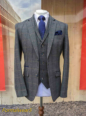 Men's Grey Wool Mix Tweed Mix & Match Jacket Waistcoat Trousers Sold Separately