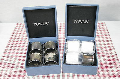 Set of 8 Vintage Towle Silver plated Beaded Edge Napkin Rings with boxes.