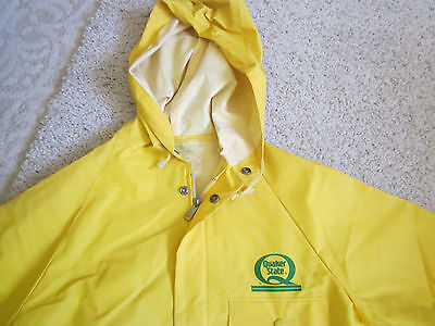 VINTAGE HOODED RAIN JACKET W/ SNAPs & ZIPPER Size SMALL, QUAKER STATE OIL  LOGO