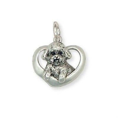 Sterling Silver Bichon Frise Heart Charm Jewelry - BF5C