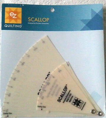 """Ez Simplicity Set Of 2 Scallops 4"""" To 12"""" Templates Patchwork Quilting Brand New"""