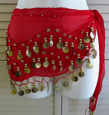 5 New Chiffon Belly Dancing Hip Skirts Scarf Wrap Belt With Coins
