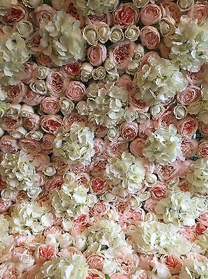 'Grace' Artificial Flower Wall Panels Wedding - Pink And Ivory - UK Supplier