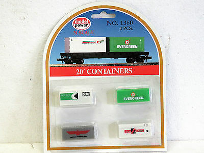 N Scale 20' CONTAINERS MODEL POWER 1360 4 in pack New