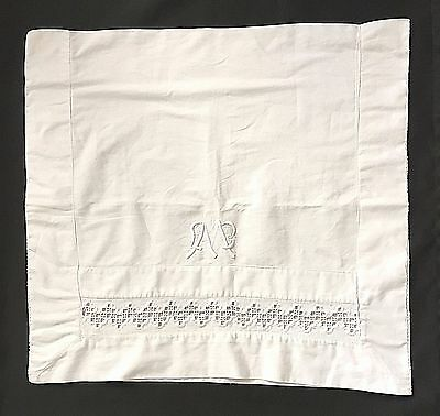 Vintage French Linen Bolster Sham Pillowcase Monogrammed Cut Work White