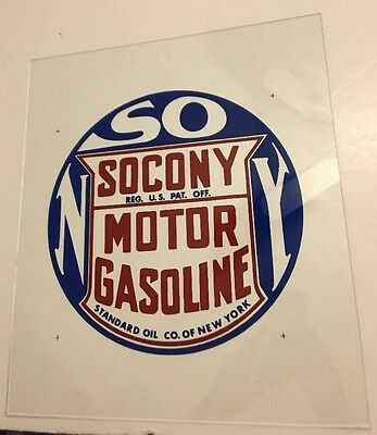 Rare VINTAGE SOCONY Oil Motor Gasoline Revers Painted Glass Panel Sign NOS