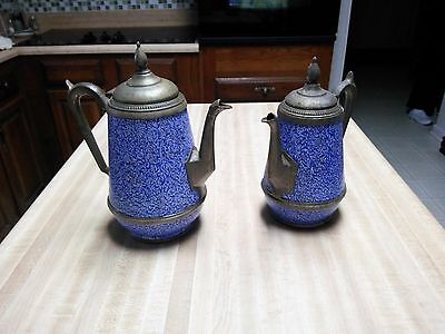 Antique Ceramic and Pewter Pitcher - Blue and White - Sponge Ware