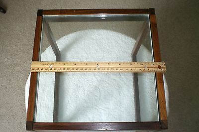 Unique Antique sm glass and wood end table 12'' x 12''