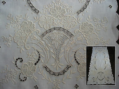 """Antique Ayshire Embroidery Needle Lace Table Runner 41""""by16"""" ,Ecru, Flowers"""