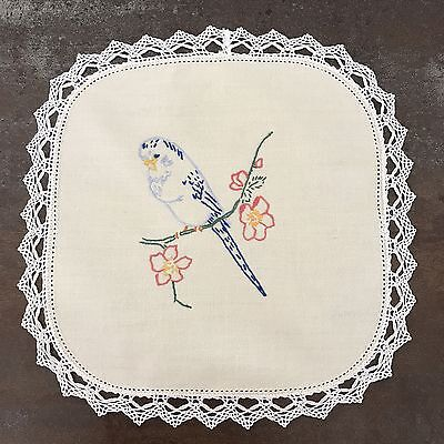 Vintage Australian Budgerigar Hand Embroidered Single Doiley Lace Edge
