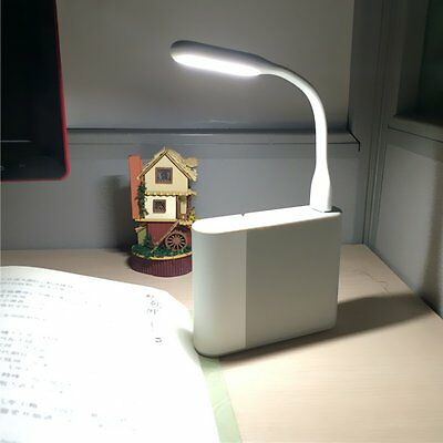 White USB LED Desk Table Light Flexiable Silicone Multi-Angle Lamp for PC Laptop