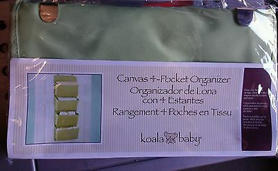Brand New Koala Baby Canvas-4 Pocket Organizer Sage Nursery Storage