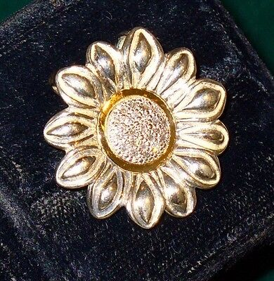 NATURAL DIAMOND 14K GOLD + STERLING SUNFLOWER PIN BROOCH - 20 DIA's - 1/2 ct TDW