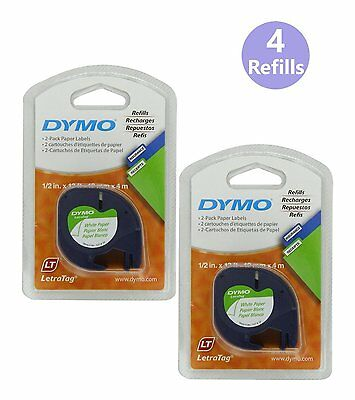 DYMO 10697 Self-Adhesive Paper Tape for LetraTag Label Makers White 2 Packs of 2