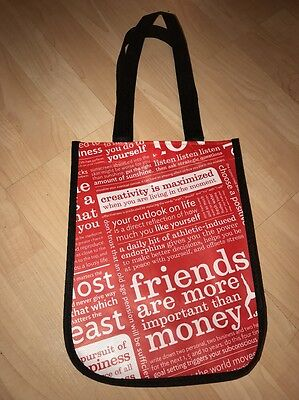 Lululemon Reusable Tote Bag Small Red Manifesto With Snap Travel Gym Shopping