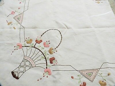 Vintage Linen Art Deco Hand Embroidered Tablecloth
