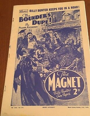 The Magnet; Billy Bunter's Own Paper - WWII Era Boy's Comic - October 21st  1939