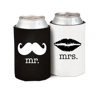 Mr Mrs Drink Can Holder Moustache Lips Wedding Stubby Stubbie Beer Cozy Vintage