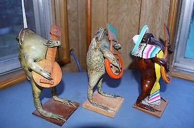 lot of 3 Vintage Taxidermy Stuffed Toad Frog Playing Guitar Cancun