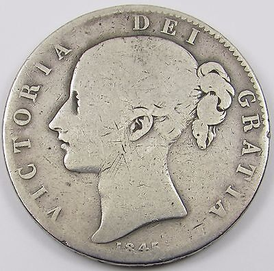 QUEEN VICTORIA YOUNG HEAD SILVER CROWN COIN dated 1845 VIII
