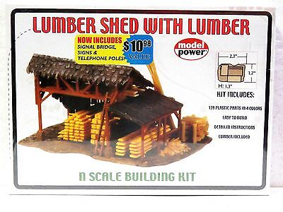 MODEL POWER N scale building kit LUMBER SHED WITH LUMBER #1580 New in box