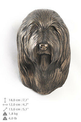 Bearded collie dog statuette to hang on the wall, Art Dog , CA