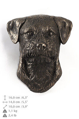 BORDER TERRIER dog statuette to hang on the wall, Art Dog , CA