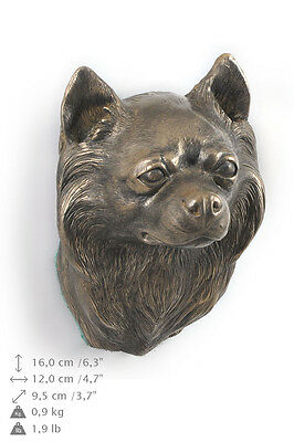 CHIHUAHUA long haired dog statuette to hang on the wall, Art Dog , CA