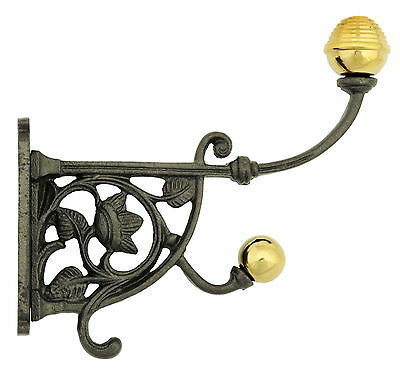 Cast Iron Flower Hat & Coat Hook With Brass Finials – Victorian antique pegs