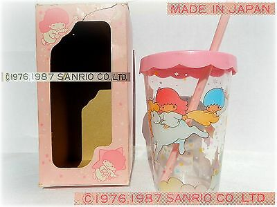 SANRIO LITTLE Twin STARS original VINTAGE 1987 BICCHIERE Plastic GLASS clear CUP