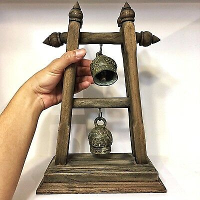 Antique Rare The Bell Buddha Amulet Clapper Sound Temple Hanging Old Famous #3
