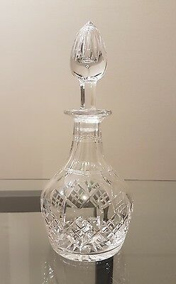 Vintage large & heavy sparkly cut crystal flat bottomed ships decanter