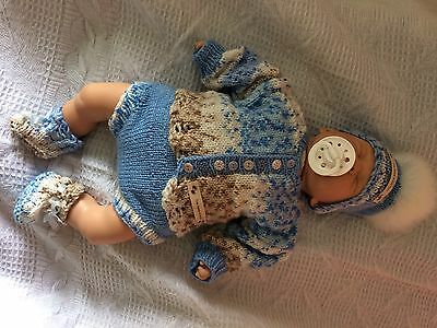 "Baby Reborn Hand Knitted Set. Hat Cardigan Booties And Pants. Size 16-18"" Dol"