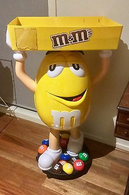 M&m Rare Yellow Store Display On Wheels And Tray