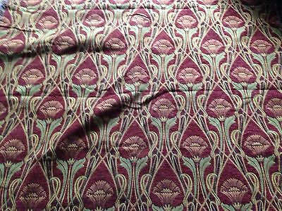 2.6 metres beautiful art nouveau style heavy brocade red