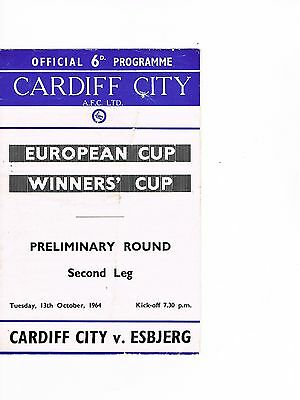 Cardiff City v Esbjerg 64/5 ECWC 1st home in Europe