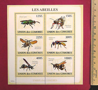 COMORES 2009 Stamps Les Abeilles The BEES perf. 6 value sheetlet MNH UKpost