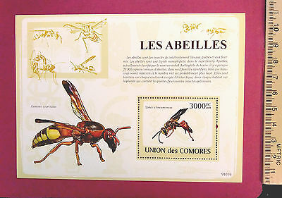 COMORES 2009 Stamps Les Abeilles The BEES perf. Souvenir sheetlet MNH UKpost