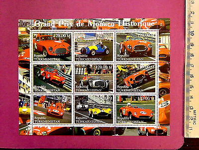 Grand Prix de Monaco Historique perf. 9 value Sheetlet Stamps MNH UKpost