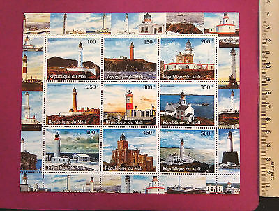 Lighthouse perf. 9 value Sheetlet Stamps MNH UKpost