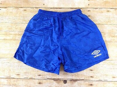 Umbro Youth Small Unisex Blue Checkered Nylon Draw String Athletic Soccer Shorts