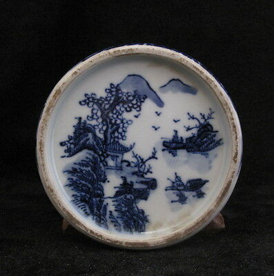 Old Chinese Blue and White Porcelain Ink stone with landscape