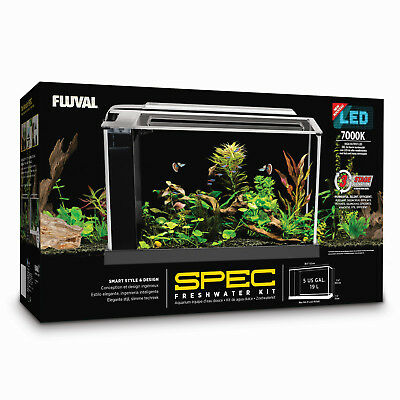 Fluval Spec 5 Freshwater Aquarium Black 19L With LED Lighting Kit Tank