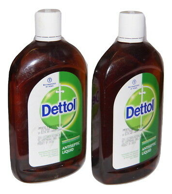 2 X  Dettol Antiseptic Liquid 500Ml ,Disinfectant First Aid Effective Protection